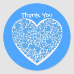 Thank You, blue and white hearts Round Sticker