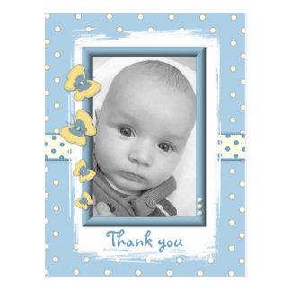Thank you blue Baby Boy Photo Postcard Butterflies