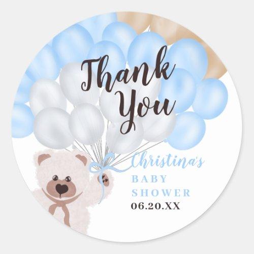 Thank you blue balloon bear boy baby shower classic round sticker