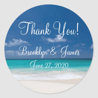 Thank You Blue Beach Wedding Stickers