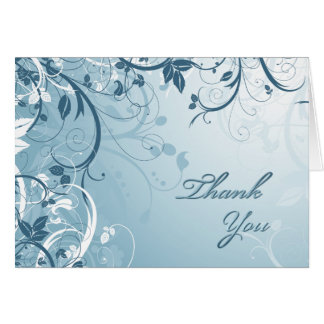 Thank You Blue Floral Card