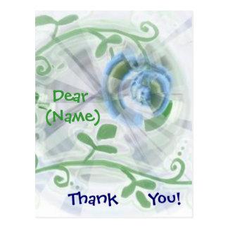 Thank You - Blue floral swirl Postcard