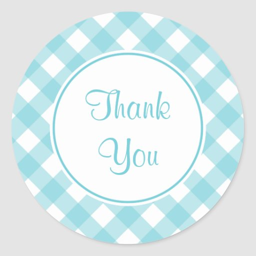 Thank You Blue Gingham Stickers