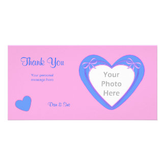 Thank You - Blue Hearts on Pink Picture Card