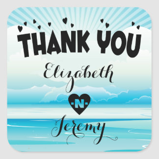 Thank You Blue Nautical Ocean Personalized Wedding Square Sticker