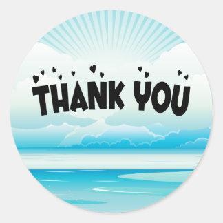 Thank You Blue Nautical Sunrise Ocean Sticker