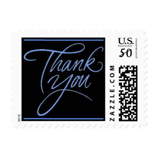 Thank You - Blue postage stamp small