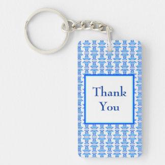 Thank You Blue Retro Pattern Keychain