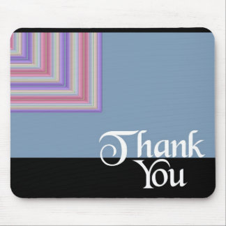 Thank You Blue Square Mouse Pad
