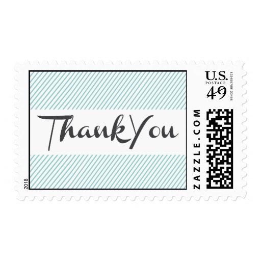 Thank You Blue Stripe Postage
