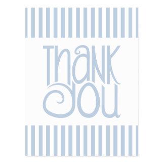 Thank You Blue Stripes Postcard