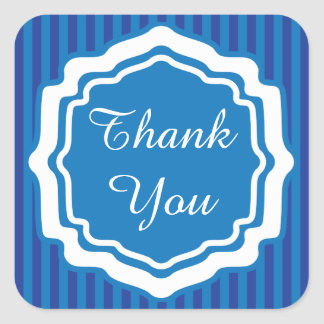 Thank You Blue Stripes Square Sticker