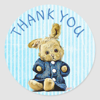 Thank You Blue Vintage Rabbit stickers