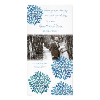 Thank You Blue Watercolor Dahlias Wedding Card