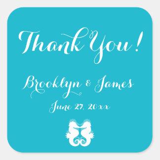 Thank You Blue White Seahorse Wedding Stickers