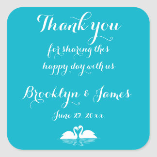 Thank You Blue White Wedding Stickers Swans