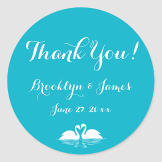Thank You Blue White Wedding Stickers With Swans
