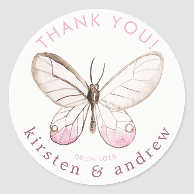 Thank You! Blush Butterfly Wedding Favor Stickers