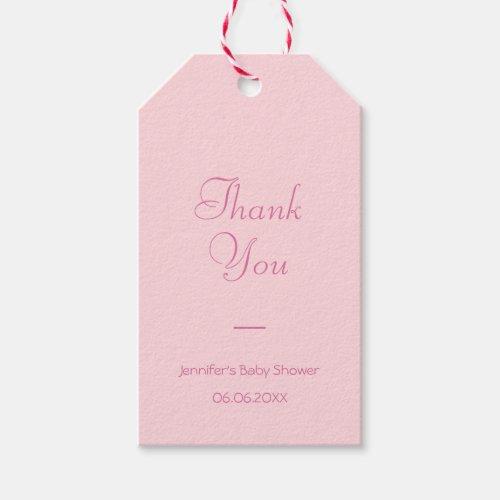 Thank You Blush Pink Modern Handwritten Script Gift Tags