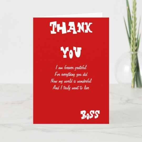 Thank you boss greeting cards zazzle thank you boss greeting cards m4hsunfo