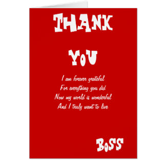 Boss greeting gifts on zazzle thank you boss greeting cards m4hsunfo