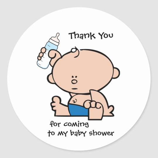 Thank You Boy Baby Shower Gift Tag Sticker Zazzle