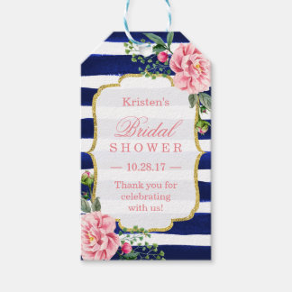 Thank You Bridal Shower Pink Flower Navy Stripes Gift Tags
