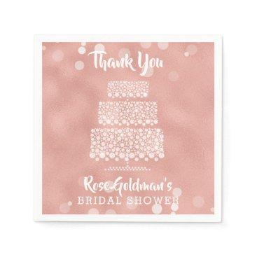 Wedding Themed Thank You Bridal Shower Rose Gold Wedding Cake Napkin