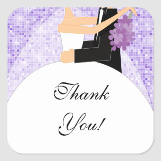 Thank You Bridal Shower Sticker Bride Groom Purple