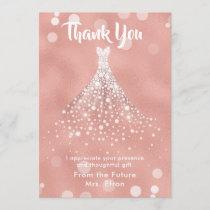 Thank You Bridal Shower Wedding Dress Rose Gold