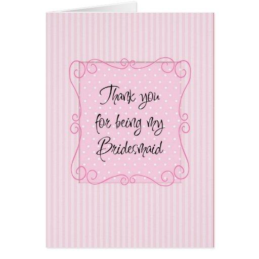 thank you bridesmaid card