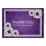 Thank You Bridesmaid Dahlia Floral Purple Greeting Card