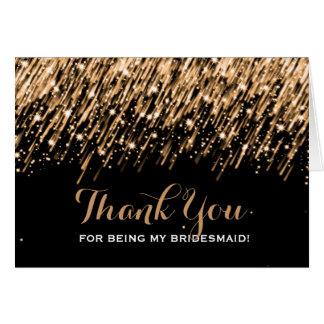 Thank You Bridesmaid Falling Stars Gold Card