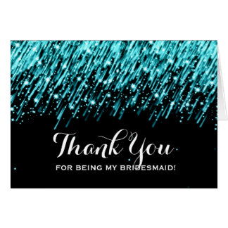 Thank You Bridesmaid Falling Stars Turquoise Cards
