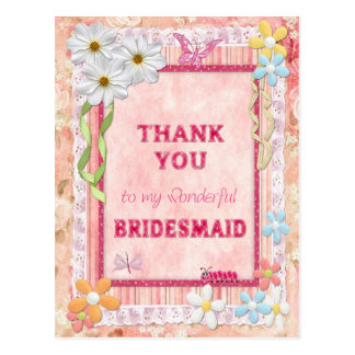 Thank you Bridesmaid, flowers craft card