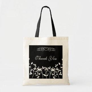 Thank You Bridesmaid Gift Bag - Black White Floral Budget Tote Bag