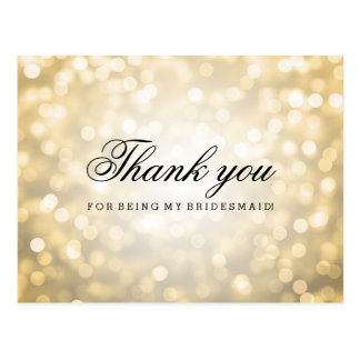 Thank You Bridesmaid Gold Glitter Lights Postcard