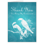 Thank You Bridesmaid Love Birds Blue Greeting Cards