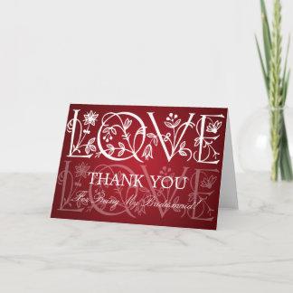 Thank You Bridesmaid Love Flourish Red