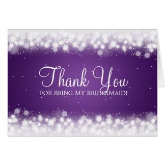 Thank You Bridesmaid Magic Sparkle Purple Card