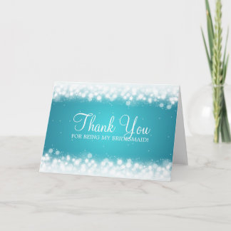 Thank You Bridesmaid Magic Sparkle Turquoise