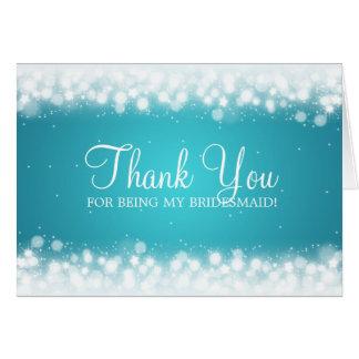Thank You Bridesmaid Magic Sparkle Turquoise Card