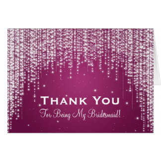 Thank You Bridesmaid Night Dazzle Berry Pink Greeting Card