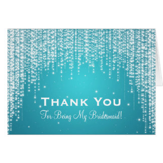 Thank You Bridesmaid Night Dazzle Blue Greeting Card
