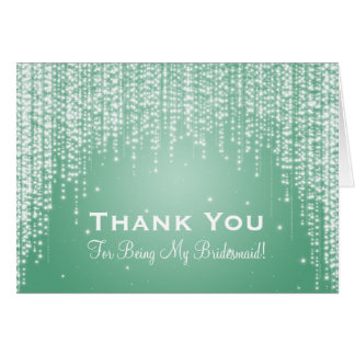 Thank You Bridesmaid Night Dazzle Mint Green Card