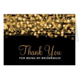 Thank You Bridesmaid Party Sparkles Gold Greeting Card