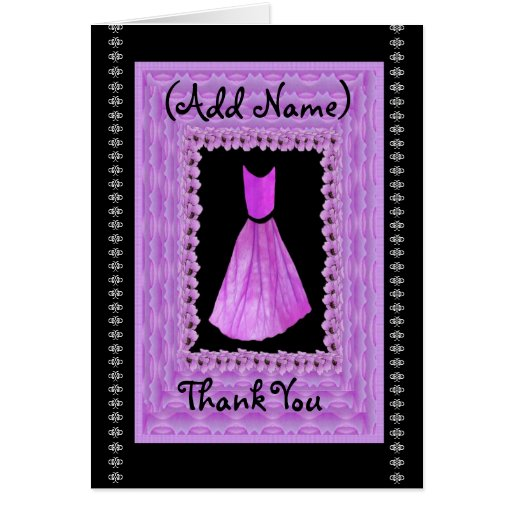 THANK YOU Bridesmaid PURPLE Gown & Cloud Frame Greeting Card