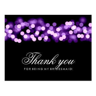 Thank You Bridesmaid Purple Hollywood Glam Postcard