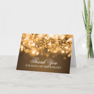 Thank You Bridesmaid Sparkling Lights Gold