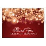 Thank You Bridesmaid Sparkling Lights Gold Card
